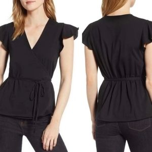 J. Crew Black Flutter Sleeve Wrap Top